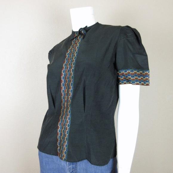VTG 50's Short Sleeve Black Embroidered Blouse S